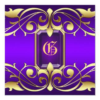 Grand Duchess Purple Jewel Gold Scroll Invitation