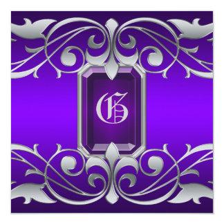 Grand Duchess Purple Jewel Scroll Invitation