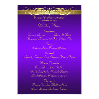 Grand Duchess Purple Scroll Wedding Menu 13 Cm X 18 Cm Invitation Card