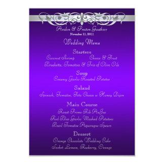 Grand Duchess Purple Scroll Wedding Menu Card