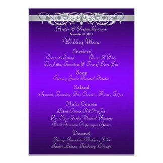 Grand Duchess Purple Scroll Wedding Menu Personalized Invite