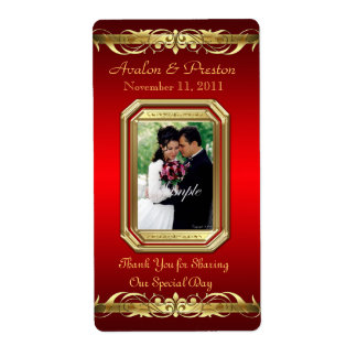 Grand Duchess Red Photo Gold Wine Wedding Label Shipping Label