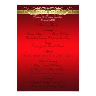 Grand Duchess Red Scroll Wedding Menu Card