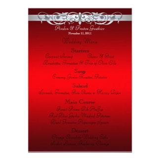 Grand Duchess Red Scroll Wedding Menu Announcements