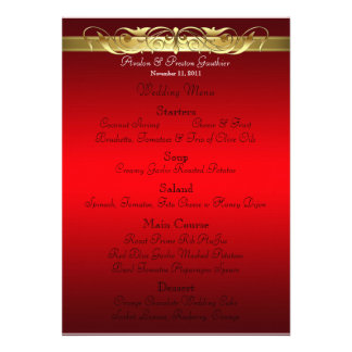 Grand Duchess Red Scroll Wedding Menu Personalized Invite