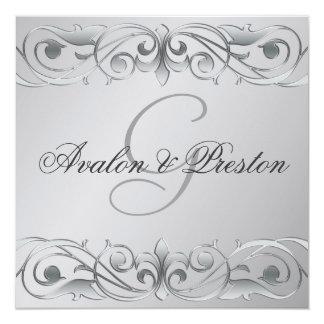 Grand Duchess Silver Metal Scroll Invitation