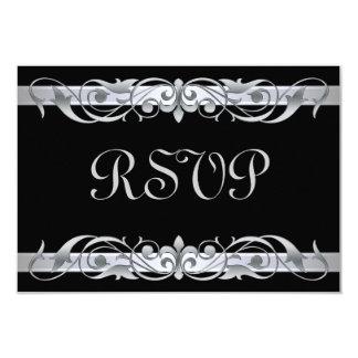 Grand Duchess Silver Scroll Black RSVP Card