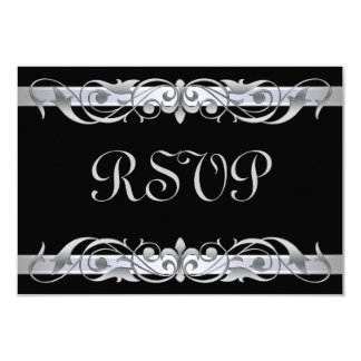 Grand Duchess Silver Scroll Black RSVP Card 9 Cm X 13 Cm Invitation Card