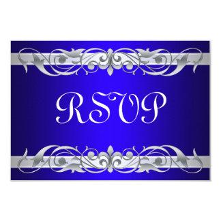Grand Duchess Silver Scroll Blue RSVP Card