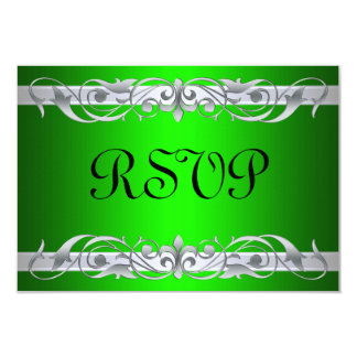 Grand Duchess Silver Scroll Green RSVP Card 9 Cm X 13 Cm Invitation Card