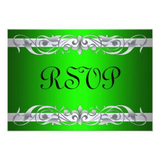 Grand Duchess Silver Scroll Green RSVP Card Custom Invitation