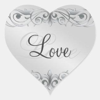 Grand Duchess Silver Scroll Heart Love Sticker