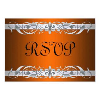 Grand Duchess Silver Scroll Orange RSVP Card Custom Invites