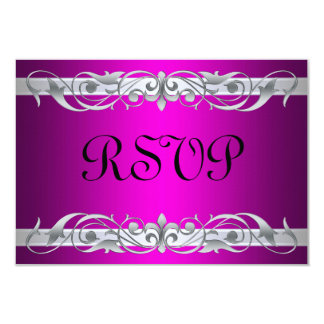 Grand Duchess Silver Scroll Pink RSVP Card 9 Cm X 13 Cm Invitation Card