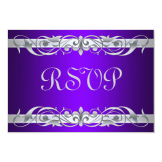 Grand Duchess Silver Scroll Purple RSVP Card 9 Cm X 13 Cm Invitation Card