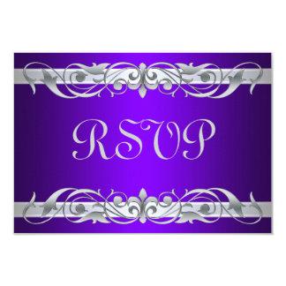 "Grand Duchess Silver Scroll Purple RSVP Card 3.5"" X 5"" Invitation Card"