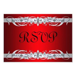 Grand Duchess Silver Scroll Red RSVP Card 9 Cm X 13 Cm Invitation Card