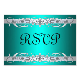 Grand Duchess Silver Scroll Teal RSVP Card 9 Cm X 13 Cm Invitation Card