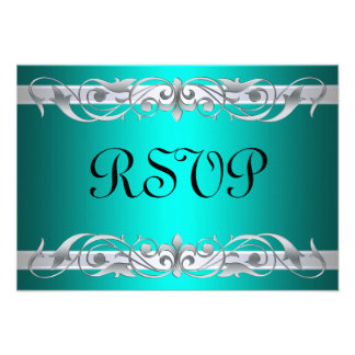 Grand Duchess Silver Scroll Teal RSVP Card Personalized Invitation