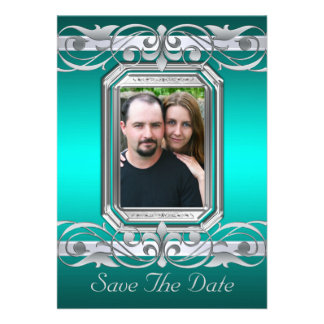 Grand Duchess Teal Save The Date Silver Invitation