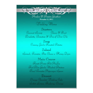 Grand Duchess Teal Scroll Wedding Menu 13 Cm X 18 Cm Invitation Card