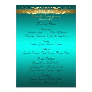 Grand Duchess Teal Scroll Wedding Menu Custom Invite