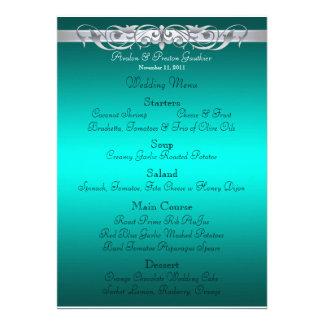 Grand Duchess Teal Scroll Wedding Menu Announcements