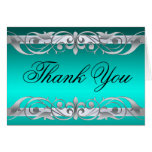 Grand Duchess Teal & Silver Thank You NoteCard Greeting Card