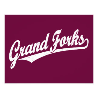 Grand Forks script logo in white distressed Flyers