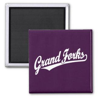 Grand Forks script logo in white Square Magnet