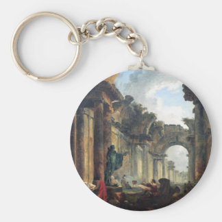 Grand Gallery of the Louvre in Ruins - 1796 Basic Round Button Key Ring