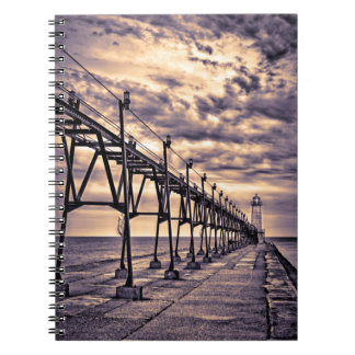 Grand Haven lighthouse and pier, Grand Haven Spiral Notebook