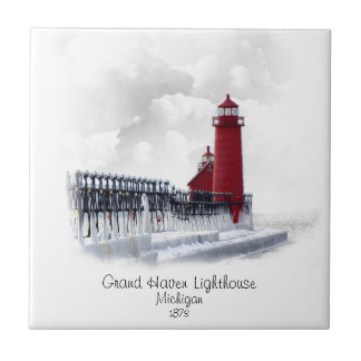Grand Haven Lighthouse - Michigan Small Square Tile