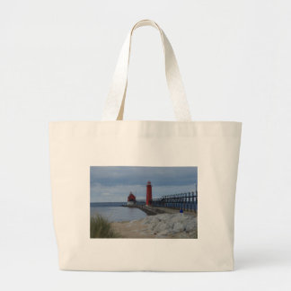 Grand Haven Lighthouses Large Tote Bag