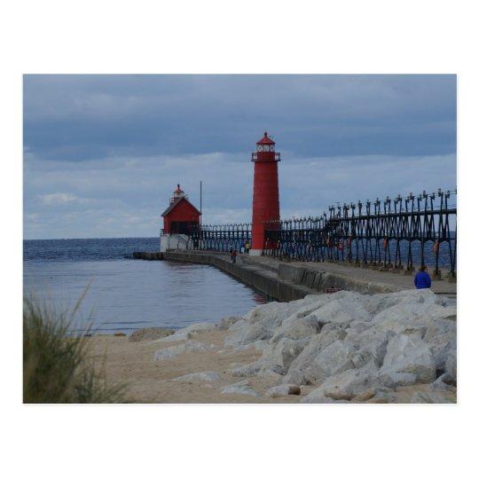 Grand Haven Lighthouses Postcard
