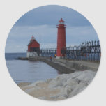 Grand Haven Lighthouses Round Sticker