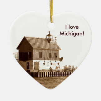 grand haven pier, I love Michigan! Christmas Ornament