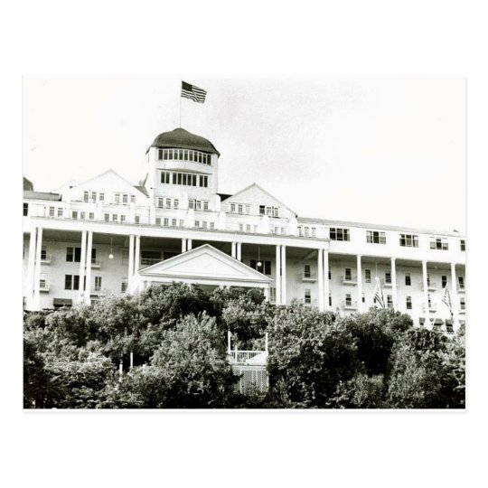 Grand Hotel, Mackinac Island, black and white Postcard