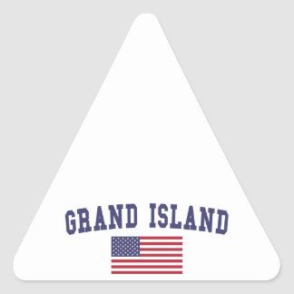 Grand Island US Flag Triangle Sticker