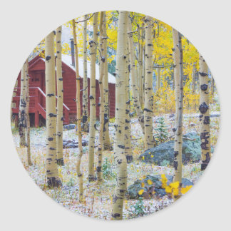 Grand Mesa Solitary cabin in a forest Round Sticker