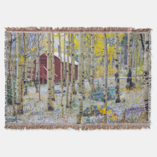 Grand Mesa Solitary cabin in a forest Throw Blanket