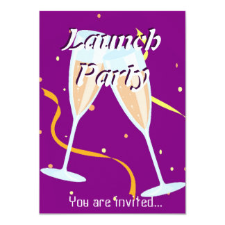 Grand Opening Launch party champagne purple Card