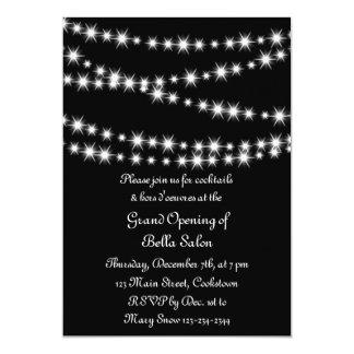 Grand Opening Twinkle Lights (black) 13 Cm X 18 Cm Invitation Card