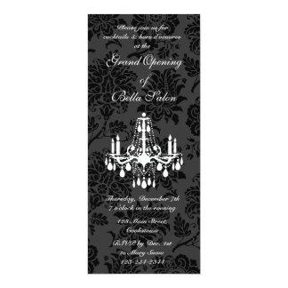 Grand Opening Victorian Damask (black) 10 Cm X 24 Cm Invitation Card