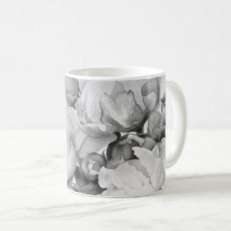 Grand Peony - black and white Coffee Mug
