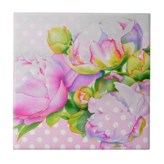 Grand Peony pink and white polka-dots Small Square Tile