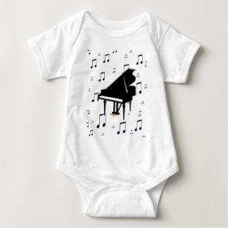 Grand Piano and Music Notes Baby Bodysuit