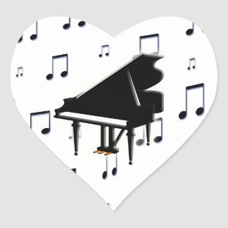 Grand Piano and Music Notes Heart Sticker