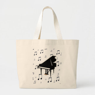 Grand Piano and Music Notes Large Tote Bag