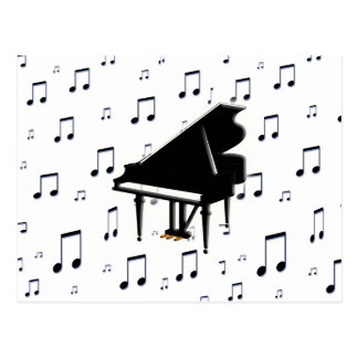 Grand Piano and Music Notes Postcard